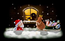 サンタクロースとトナカイが窓から…